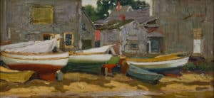 Hamilton Easter Field, Cove Dories, c. 1915, Oil. From the permanent collection of Ogunquit Museum of American Art (OMAA). All rights Reserved. No Usage Rights Granted Without Prior Written Permission From OMAA.