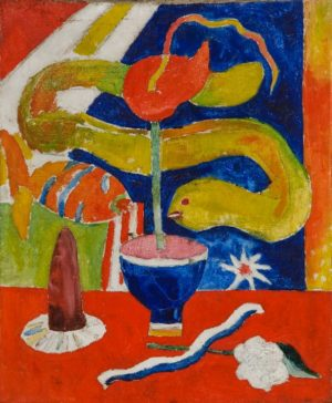 Hartley, Marsden-Still Life with Eel-shelf 2, oil, c.1917, 30x25, gift of Mrs. William Carlos Williams, Sept. 1967