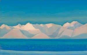 Kent, Rockwell-Alaskan Sunrise- oil, 1919 signed & dated Rockwell Kent, Alaska, 1919 LL, 28x44in. shelf 7,