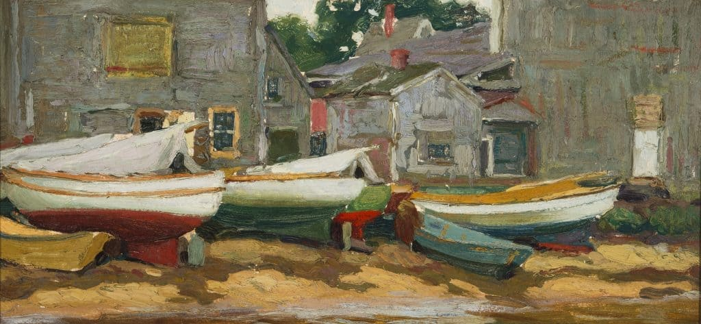 "Hamilton Easter Field (1873-1922), ""Cove Dories,"" c. 1915, oil on canvas, 9x19 in., #1999.14.2, gift of Barbara Hilty, 1999"